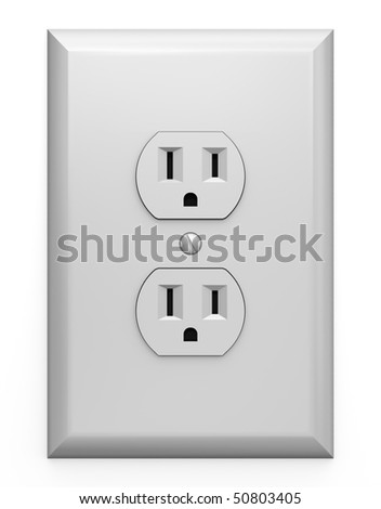 A U.S. electric household outlet isolated on a white background - stock photo