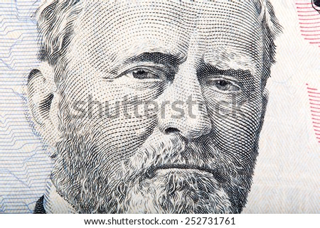 A U.S. fifty 50 dollar bill close up of Grant - stock photo