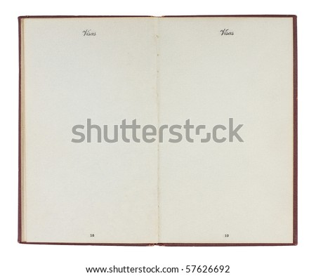 A U.S. Passport from the 1920s open to two blank facing pages. Room to add your own customs stamps. Isolated on white with clipping path. - stock photo