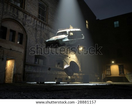 A ufo beams home an old car wreck in the night (3D render)