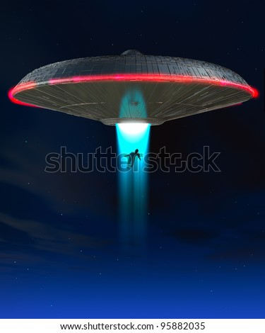 A UFO that is abducting a human - stock photo