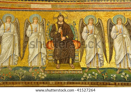 Christ Enthroned Flanked By Angels