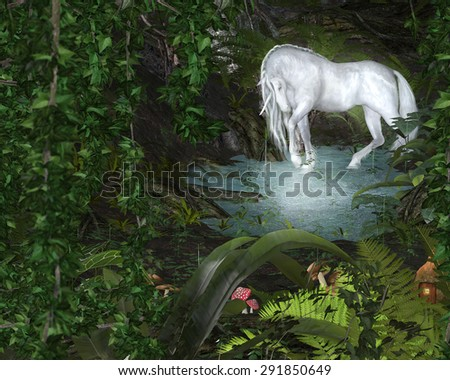 A unicorn at a pond in a magic forest setting. - stock photo