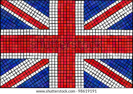 A Union Jack flag made from mosaic tiles. Also available in vector format. - stock photo