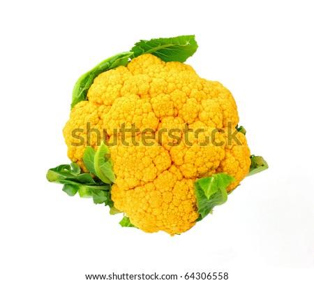 A unique fresh raw colorful orange cauliflower. - stock photo