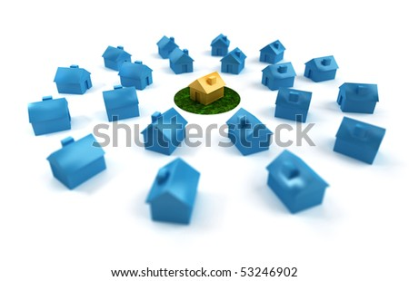 A unique garden house standing out in a group of buildings. - stock photo