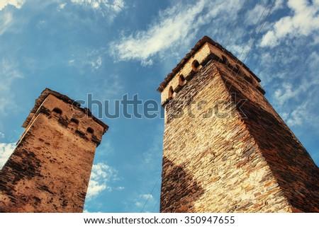 A unique insight into the ruins. Svan towers in Ushguli. Svaneti, Georgia - stock photo