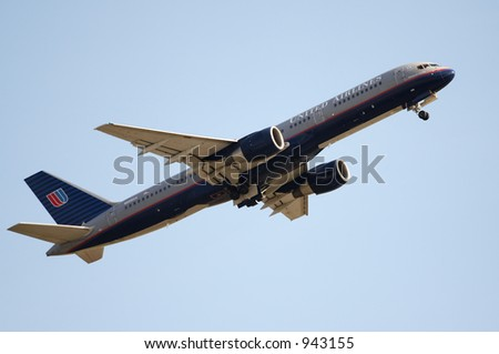A United Airlines jet taking off.