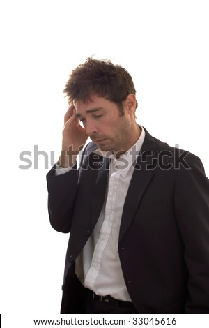 a unkempt business man Succumbing  to the stress of the gfc - stock photo