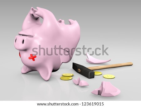 a upside down broken piggy with patches on his eyes, a hammer, some coins and some fragments are laying on the floor - stock photo