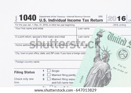 Stimulus Economic Tax Return Check Usa Stock Photo