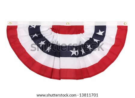 A US flag colored bunting decoration as is popular in major US holidays, isolated on white - stock photo