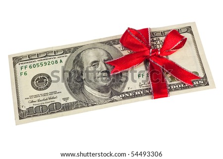 A US hundred dollar bill wrapped by ribbon isolated on white background