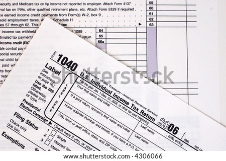 A US income tax form. - stock photo