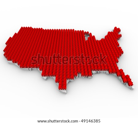 A US map covered in red houses, symbolizing overcrowding - stock photo