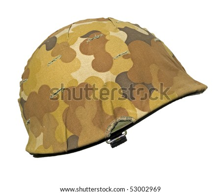 A US military helmet with an M1 Mitchell cloud pattern, or autumn-winter, camouflage cover. It was first issued in 1953 just as the Korean war ended. - stock photo