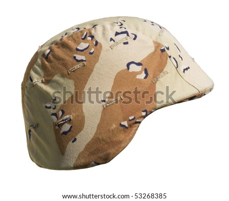 A US PASGT Kevlar helmet with a Desert Battle Dress Uniform (chocolate-chip) camouflage cover from Operation Desert Storm, 1990-91, commonly referred to as the Gulf War. - stock photo