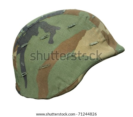 A US PASGT Kevlar helmet with a Woodland (M81 General Purpose Pattern) camouflage cover. This colour scheme was in use during the US invasion of Panama in December, 1989. - stock photo