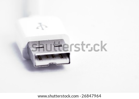 a usb plug in macro over  white