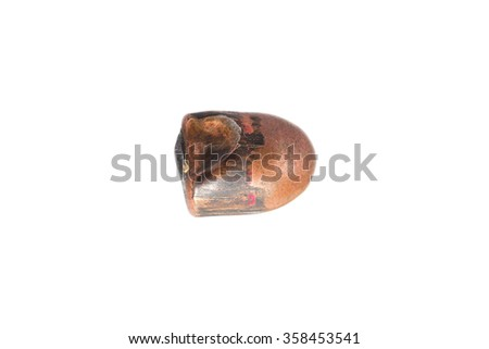 A used and flattened copper plated 9mm bullet. isolated on white with room for your text. - stock photo
