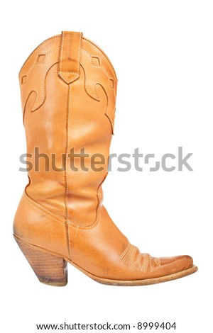 A used cowboy boot isolated on white background - stock photo