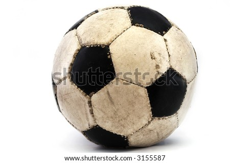 a used football placed over white - stock photo