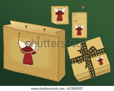 A useful collection of holiday gift icons including a gift bag with raffia handle, a gift box with a country gingham bow, and two different styles of tag. - stock photo