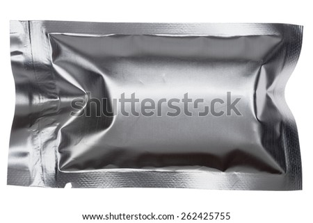 A vacuum-sealed foil package of the type used for condiments. Photographed over a white background.