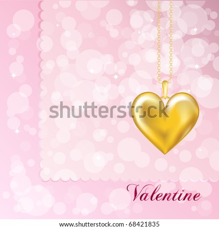 A Valentine card with a gold heart locket. Pink background. Also available in vector format with space for your text. - stock photo