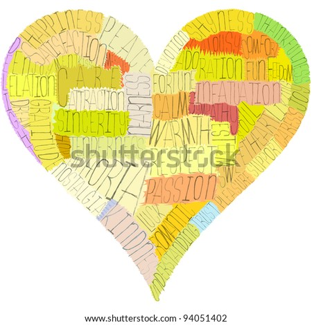 A Valentine's Day heart, composed from words about love, senses and psychology terms (such as passion, respect, nostalgia and a lot of others). Warm colors, hand-made letters and masks, great concept! - stock photo