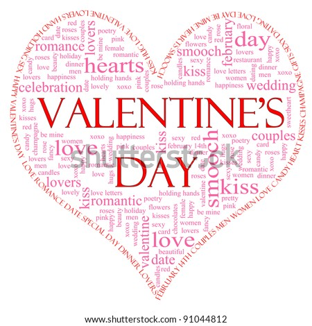 A Valentine's Day heart shaped word cloud concept including great terms such as love, roses, smooch, kiss, lovers, february, and lots more. - stock photo