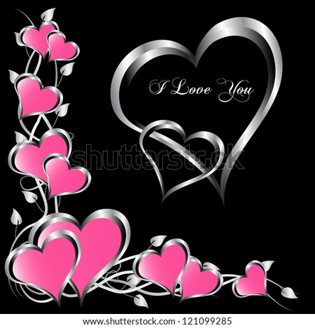 A valentines background with a large central heart and smaller pink hearts on a black background - stock photo