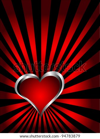 A valentines background with silver hearts on a deep blue fan effect  backdrop