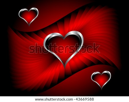 A valentines background with silver hearts on a deep red backdrop with room for text
