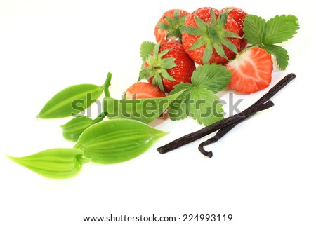 a vanilla bean with vanilla leaves and fresh strawberries - stock photo