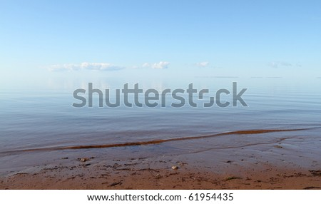 A vanishing horizon on a hazy day with room for your text - stock photo