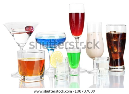 a variety of alcoholic drinks isolated on white - stock photo