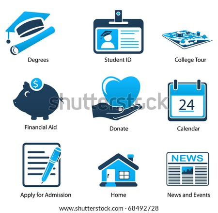 A Variety of Blue Education Icons - stock photo
