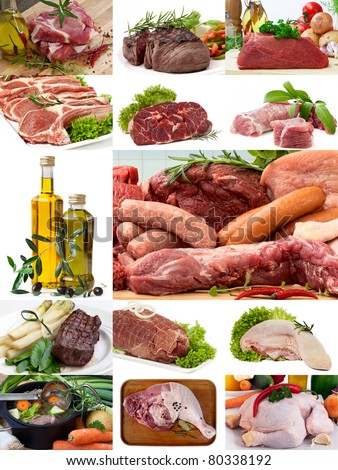 A variety of butcher fresh meat, Steak and Olive Oil - stock photo