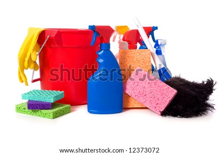 a variety of cleaning supplies and chemicals on a white background, including spray bottles, gloves, sponges, rags, and a bucket - stock photo