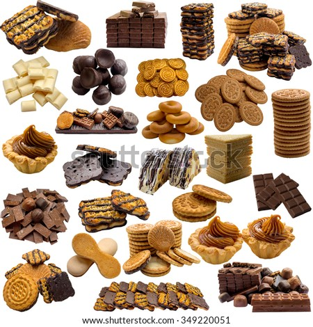 A variety of cookies and chocolate on a white background.
