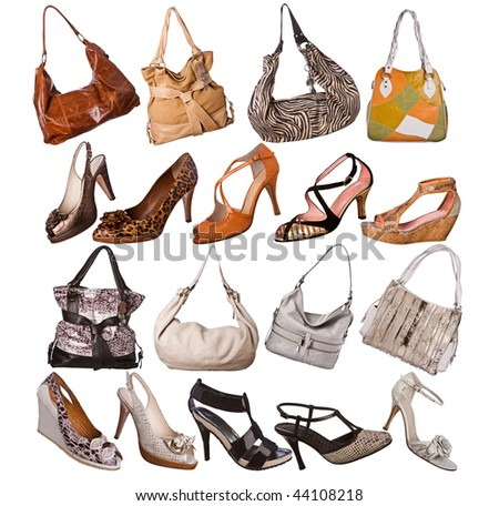 A variety of elegant women high heels shoes and bags isolated on white background. - stock photo