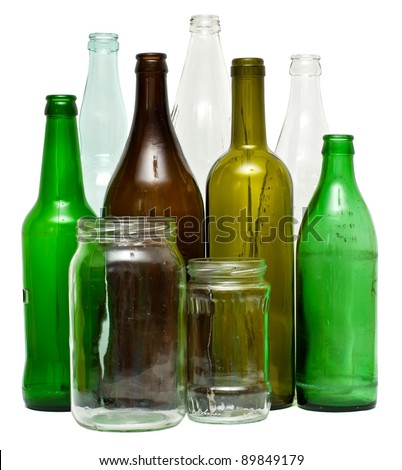 A variety of glass bottles and jars, isolated on white. - stock photo