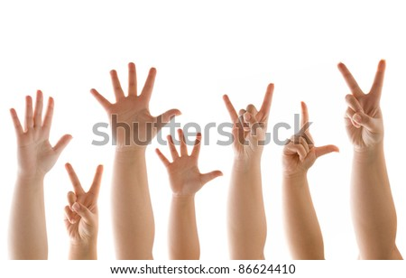 A variety of hands and finger gestures isolated over a white background.