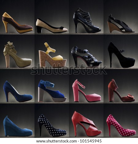 A variety of heels in different colour