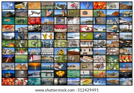 A variety of images as a big video wall of the TV screen - stock photo
