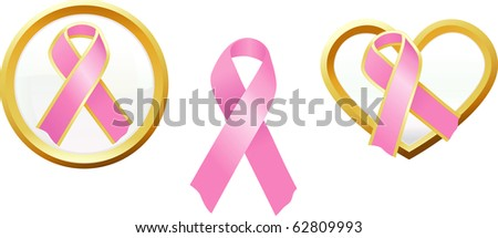 A variety of pink ribbons representing breast cancer awareness and support.
