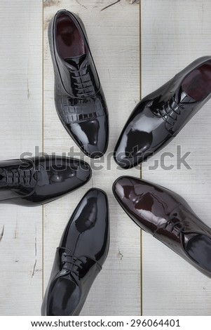 A variety of shiny shoes for men