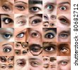 A variety of square cropped eyeball close ups with both male and female eyes. - stock photo