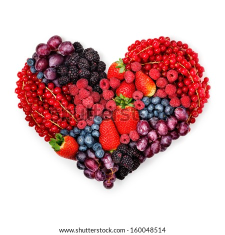 Variety Summer Berries Shape Heart Symbol Stock Photo Royalty Free